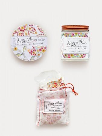 Library Of Flowers Honeycomb Gift Trio: Candle, Milk Bath & Parfum Crema