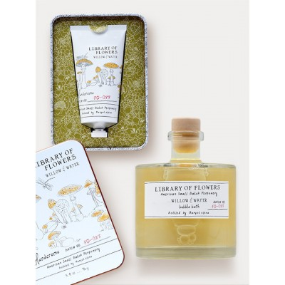 Library Of Flowers Willow & Water Gift Duo: Bubble Bath & Hand Cream